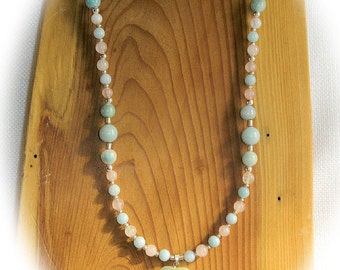 Romantice Amazonite & Rose Quartz Necklace with AMAZONITE HEART Pendant In Time for Valentines Day Cool Minty Green and Soft Pink Gemstones
