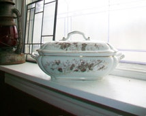 Antique Carlsbad Austria Soup Tureen Covered Dish Floral Decor