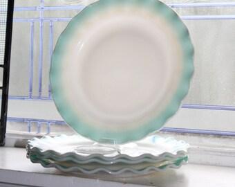 "3 Crinoline Turquoise Blue and White 9"" Dinner Plates Hazel Atlas Vintage 1950s"