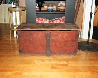 Antique 1800s Wood Trunk Wooden Scandinavian Immigrant Chest Original Paint Primitive Farmhouse Decor