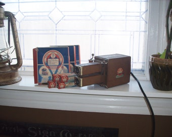 Uncle Sam's Toy Movie Projector with 18 Films Popeye Scrappy and Fairyland Tales Vintage 1930s