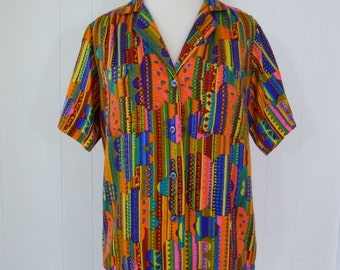 70's Flower Power Blouse Psychedelic Cotton Neon Ethnic Print Button Down Shirt M L