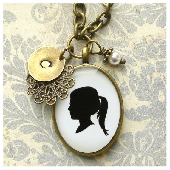 Mother's Day Custom Silhouette Necklace with Oval Pendant, Initial Charm and Pearl Dangle for Mother or Grandmother