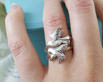 Escher Tessellating Bird Stacking Rings in Sterling Silver, unique silver rings, silver stacking rings, stacking birds, Escher bird rings