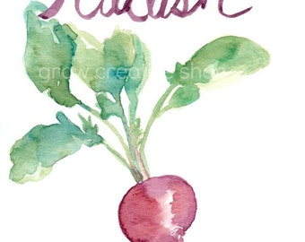Maroon Watercolor Radish with Hand Lettering, Original Painting, 5x7,Red, Purple, Green, Leaf, Kitchen Decor