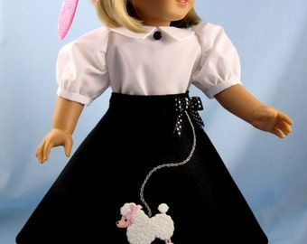 1950s Poodle Skirt Outfit - 18 Inch Doll Clothes - Fits American Girl Dolls - Maryellen