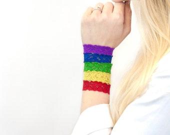 Rainbow Lace Bracelet Stack SET, Stackable Skinny Thin Hair Tie, Covers Wristband Wrist Tattoo Cover Up, Bun Wrap Nursing Bracelet Rainbow