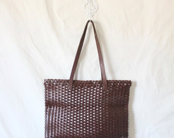 Rare Vintage Banana Republic Basket Leather Oversized Tote
