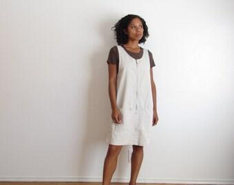 Vintage jumper dress 90s sleeveless pocket dress