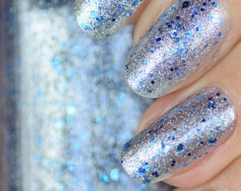 Permafrost Silver Foil and Blue Glitter Nail Polish 15ml (.5oz)