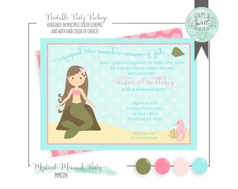 Mermaid Invitation. Birthday Party Printable PDF/Jpeg invite. 5x7. Available in multiple colors schemes & hair of choice. Seaweed Coral