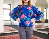 Vintage 80s Floral Blouse Batwing Pullover Fleece Top