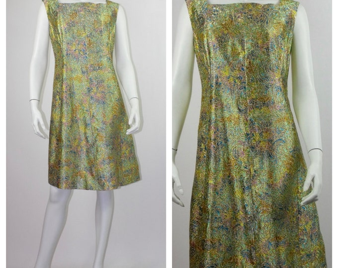 1960's Gold Lurex A-Line Dress with Multi-Coloured Swirl  // Gold Swing Dress // Mod Dress // Gold Lamé 60's Dress // Size 10 to 14