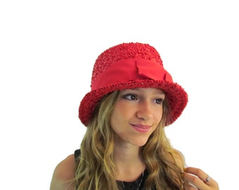 Red Cloche Hat Straw Cloche Hat Summer Hats Cloche Hat Flapper Hat Vintage Hats For Women Girls Ladies Hats Style 1920s