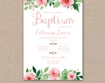 Baptism Invitation, Girls Baby Babies Childrens Shabby Chic Pink Flowers Floral Watercolour – Digital file