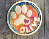 Colorful Dog Tag / Pet Tag / Dog ID Tag / Cute Pet Tag / Colorful Loving Paw Etched Brass Pet Tag for dogs or cats