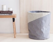gray storage bag - laundry bin - made of cotton twill with an off-white knit insert - made of lambswool