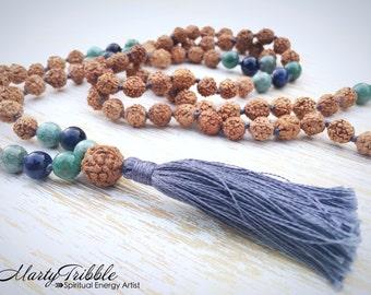 Dumortierite Jade Rudraksha Mala, Mala Bead Necklace, 108 Mala Beads, Mala Necklace, Mala Beads 108, Buddhist Jewelry, Gemstone Mala Beads