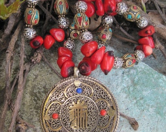 Om Pendant on Coral Beads and Coral, Turquoise and Brass Inlay Beads from Nepal Necklace - Beaded Necklace with Nepalese OM Pendant