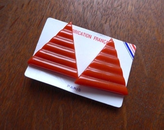 Huge 1970's - 1980's French NOS Triangle Orange Clip Earrings