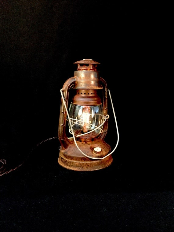 Table Lamp Lantern Rustic Vintage
