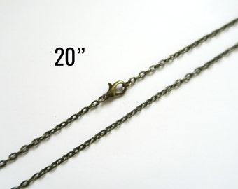 """Bronze 20"""" Necklaces Textured Cable Chain Antique - 3.5x2.5mm - 4pcs - Ships IMMEDIATELY from California - CH626"""