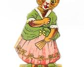 Antique German Embossed Die Cut Cat on Wood, Vintage Advertising Premium,  Stand Up Toy, Skittle