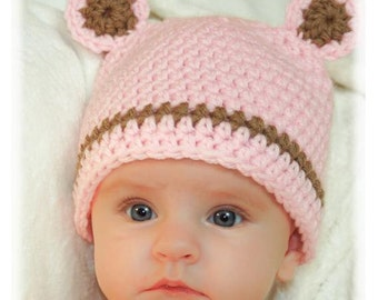 Crochet baby girl pink bear hat with ears.  Made to order.  Pink and brown baby girl hat.  Baby shower gift photography prop.