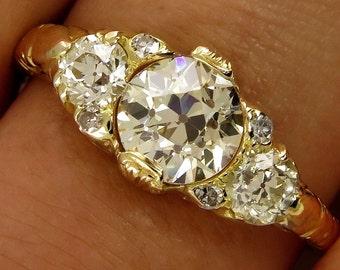 Super Rare ...1.55CT Authentic Victorian Antique Vintage Old European Trilogy Engagement Ring 18k Yellow Gold