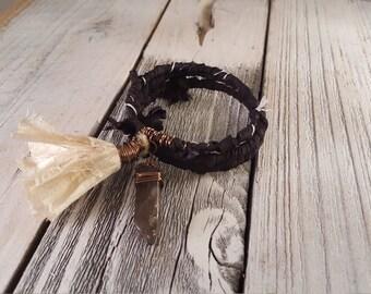 Black Sari Silk Wrapped Memory Wire Bracelet with Smokey Quartz & Ivory Sari Silk Tassel