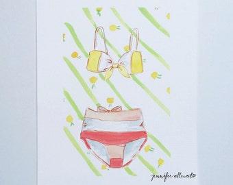 Summer swim suit art print illustration vintage bathing suit wall art - The Pink Suit