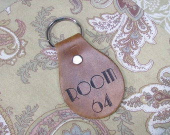Room 64 Hotel Cortez Key Chain Fob - Keychain AHS American Horror Story Inspired Art Deco TV Movie - Brown Tan Leather