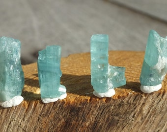Blue Tourmaline Crystals, x4, Unheated Natural Paraiba Colored, Raw Rough Afghanistan Minerals, 3.2g/16ct 13-16mm (73-166)