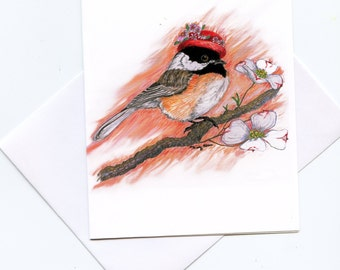 Chickadee Hat lady note cards