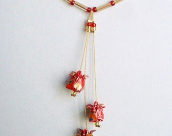 Red, white and gold lotus flower Origami necklace