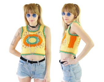 Crochet 70s Bright Pastel Granny Square Festival Top, Vintage Belly Shirt, Handmade, Women's Size Small