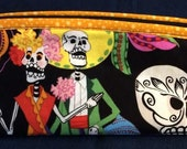 Notion Pouch/Make-Up Bag/Pencil Bag Bag - Day of the Dead Dia De Los Muertos with Yellow Lining