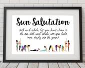 Sun Salutation - Yoga print - yoga decor - Surya Namaskar - Sun salute art - Yoga wall print - inhale, exhale - lift your heart - colorful