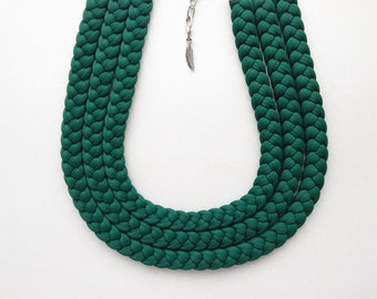statement choker, green necklace - The triple braid necklace - handmade in absolute green fabric -  limited edition