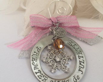 Premier Noel de Bebe French 2016 Personalized Hand Stamped Sterling Silver Snowflake with stone and ribbon Christmas Holiday Ornament