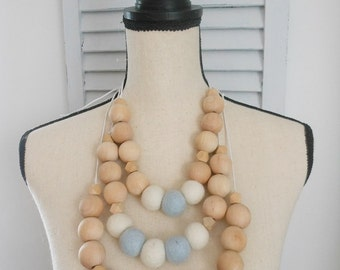 Wool felt and wood bead necklace, blue and cream wool felt ball necklace