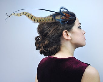 Feather Fascinator in Navy Blue Velvet With Gold and Copper Natural Pheasant Feathers