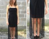 90s black fishnet body con maxi
