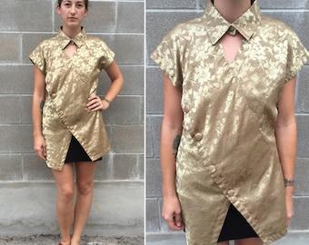 90s gold silk floral asymmetrical blouse