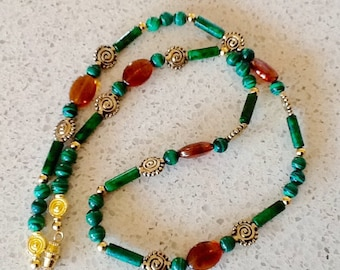 Malachite and Brown Glass Beaded Necklace