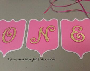Age ONE Birthday Banner, High Chair Banner, Girls Pink ONE Banner, DIY Banner, High Chair Birthday Banner