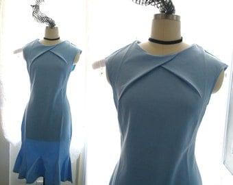 1920's Style Downton Abbey Victorian Light Blue Midi Mermaid Dress Sleeveless elegance Flapper