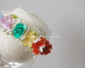 Rainbow Newborn Headband - Newborn Photo Prop: Rainbow Newborn Tieback, Newborn Flower Crown, Newborn Halo, Organic Photography Props