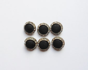 "Six Black Rhinestone Dress Buttons, Black Fabric Buttons with Rhinestones, 3/4"" Silver and Black Buttons"