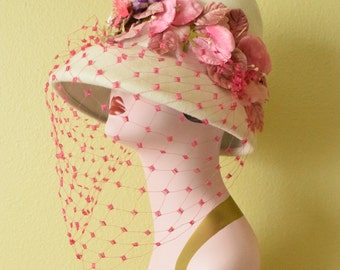 Vintage  c. 1960's Wool Floral Hat with Fuchsia Veil